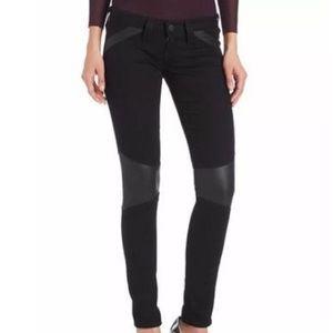 True Religion Super Skinny w/ Leather Moto Jeans